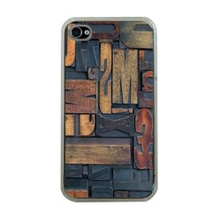 Letters Wooden Old Artwork Vintage Apple iPhone 4 Case (Clear)