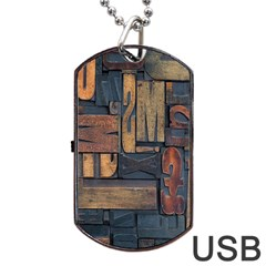 Letters Wooden Old Artwork Vintage Dog Tag USB Flash (One Side)