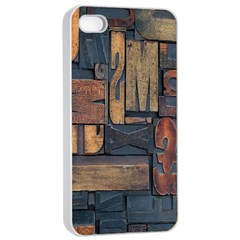Letters Wooden Old Artwork Vintage Apple iPhone 4/4s Seamless Case (White)