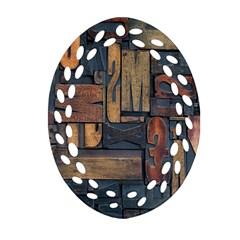 Letters Wooden Old Artwork Vintage Oval Filigree Ornament (2-Side)