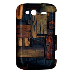 Letters Wooden Old Artwork Vintage HTC Wildfire S A510e Hardshell Case