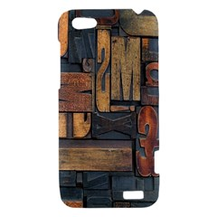 Letters Wooden Old Artwork Vintage HTC One V Hardshell Case