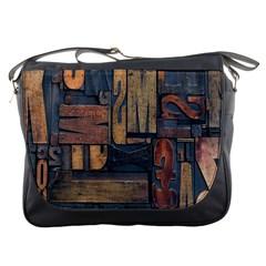 Letters Wooden Old Artwork Vintage Messenger Bags