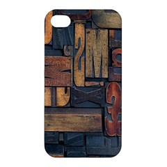 Letters Wooden Old Artwork Vintage Apple iPhone 4/4S Premium Hardshell Case