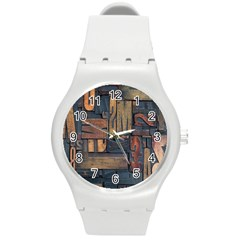 Letters Wooden Old Artwork Vintage Round Plastic Sport Watch (M)