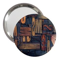 Letters Wooden Old Artwork Vintage 3  Handbag Mirrors