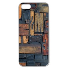Letters Wooden Old Artwork Vintage Apple Seamless iPhone 5 Case (Clear)
