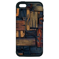 Letters Wooden Old Artwork Vintage Apple iPhone 5 Hardshell Case (PC+Silicone)