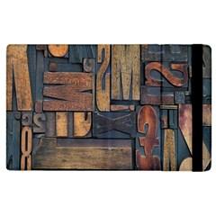 Letters Wooden Old Artwork Vintage Apple iPad 2 Flip Case