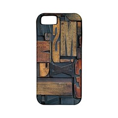 Letters Wooden Old Artwork Vintage Apple iPhone 5 Classic Hardshell Case (PC+Silicone)