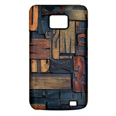 Letters Wooden Old Artwork Vintage Samsung Galaxy S II i9100 Hardshell Case (PC+Silicone)