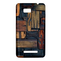 Letters Wooden Old Artwork Vintage HTC One SU T528W Hardshell Case