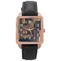Letters Wooden Old Artwork Vintage Rose Gold Leather Watch