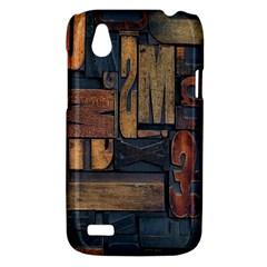 Letters Wooden Old Artwork Vintage HTC Desire V (T328W) Hardshell Case