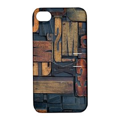 Letters Wooden Old Artwork Vintage Apple iPhone 4/4S Hardshell Case with Stand