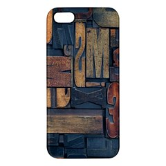 Letters Wooden Old Artwork Vintage Apple iPhone 5 Premium Hardshell Case