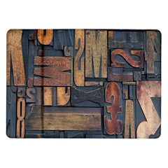 Letters Wooden Old Artwork Vintage Samsung Galaxy Tab 10.1  P7500 Flip Case