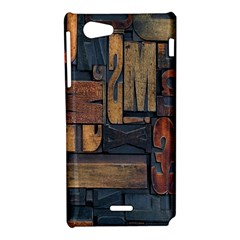 Letters Wooden Old Artwork Vintage Sony Xperia J
