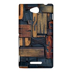 Letters Wooden Old Artwork Vintage Sony Xperia C (S39H)