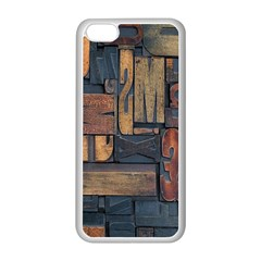 Letters Wooden Old Artwork Vintage Apple iPhone 5C Seamless Case (White)
