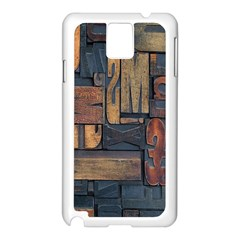 Letters Wooden Old Artwork Vintage Samsung Galaxy Note 3 N9005 Case (White)