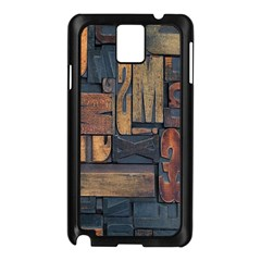 Letters Wooden Old Artwork Vintage Samsung Galaxy Note 3 N9005 Case (Black)