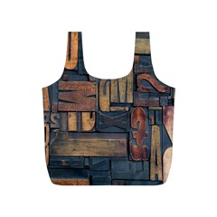 Letters Wooden Old Artwork Vintage Full Print Recycle Bags (S)