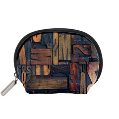 Letters Wooden Old Artwork Vintage Accessory Pouches (Small)