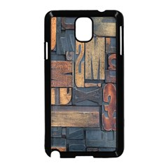 Letters Wooden Old Artwork Vintage Samsung Galaxy Note 3 Neo Hardshell Case (Black)