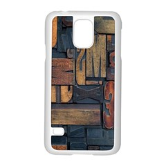 Letters Wooden Old Artwork Vintage Samsung Galaxy S5 Case (White)