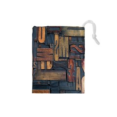 Letters Wooden Old Artwork Vintage Drawstring Pouches (Small)