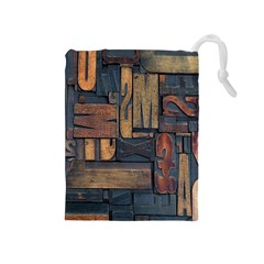 Letters Wooden Old Artwork Vintage Drawstring Pouches (Medium)
