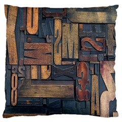 Letters Wooden Old Artwork Vintage Large Flano Cushion Case (Two Sides)