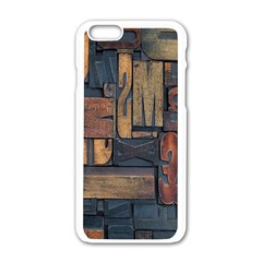 Letters Wooden Old Artwork Vintage Apple iPhone 6/6S White Enamel Case