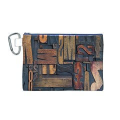 Letters Wooden Old Artwork Vintage Canvas Cosmetic Bag (M)