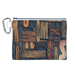 Letters Wooden Old Artwork Vintage Canvas Cosmetic Bag (L)