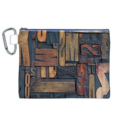 Letters Wooden Old Artwork Vintage Canvas Cosmetic Bag (XL)