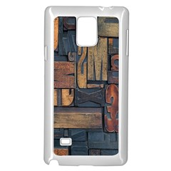 Letters Wooden Old Artwork Vintage Samsung Galaxy Note 4 Case (White)