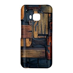 Letters Wooden Old Artwork Vintage HTC One M9 Hardshell Case