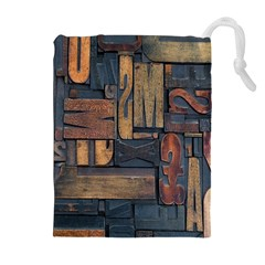 Letters Wooden Old Artwork Vintage Drawstring Pouches (Extra Large)