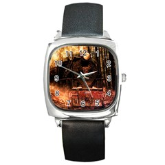 Locomotive Square Metal Watch