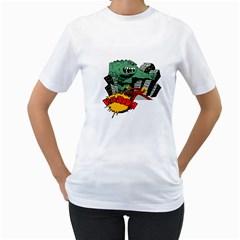 Monster Women s T-Shirt (White) (Two Sided)