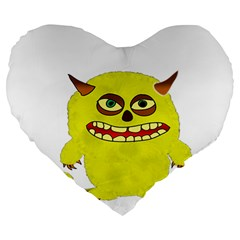 Monster Troll Halloween Shudder  Large 19  Premium Heart Shape Cushions