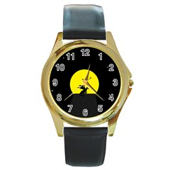 Moon And Dragon Dragon Sky Dragon Round Gold Metal Watch
