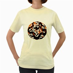 Ornament Dragons Chinese Art Women s Yellow T-Shirt