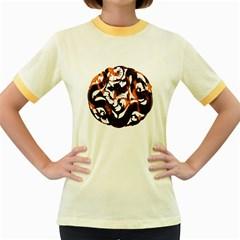 Ornament Dragons Chinese Art Women s Fitted Ringer T-Shirts
