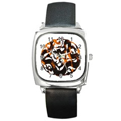 Ornament Dragons Chinese Art Square Metal Watch