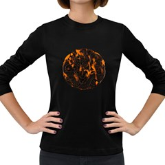 Ornament Dragons Chinese Art Women s Long Sleeve Dark T-Shirts