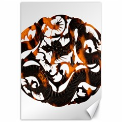 Ornament Dragons Chinese Art Canvas 12  x 18
