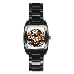 Ornament Dragons Chinese Art Stainless Steel Barrel Watch